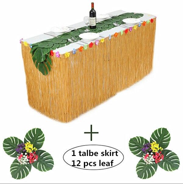 Hawaiian Luau Grass Table Skirt Decorations Hula - Hibiscus Tropical Pool Birthday Party Supplies (2 PCS) 275*75cm