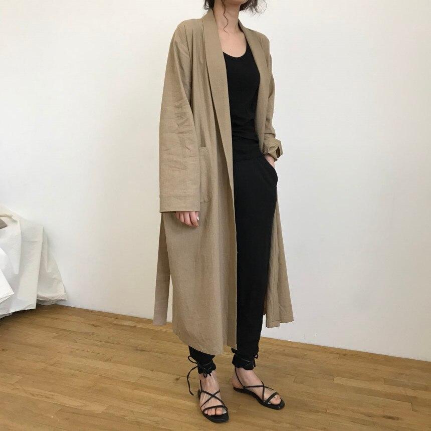 Ladies Vintage Korean Style Belt Maxi Long   Trench   Coat for Women Spring Autumn Raincoat Windbreaker Full Sleeve Pockets Cardigan