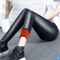 2018 winter women pant fake leather leggings lady boot pant thick warm legging slim pencil panties cashmere trousers