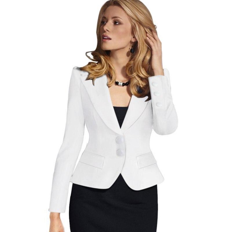 Cockcon осень/зима 2016 женщин элегантный длинный рукав отказаться воротник кнопку feminina носить на работу blazer черный белый синий