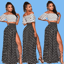 Black White Polka Dot 2 Piece Sweat Suits Women Outfits Clothes Tie Off Shoulder Crop Top And Skirt Suits Two Pcs Co-ord Set sexy self tie halter open back crop top and elastic waist hotpants co ord page 1