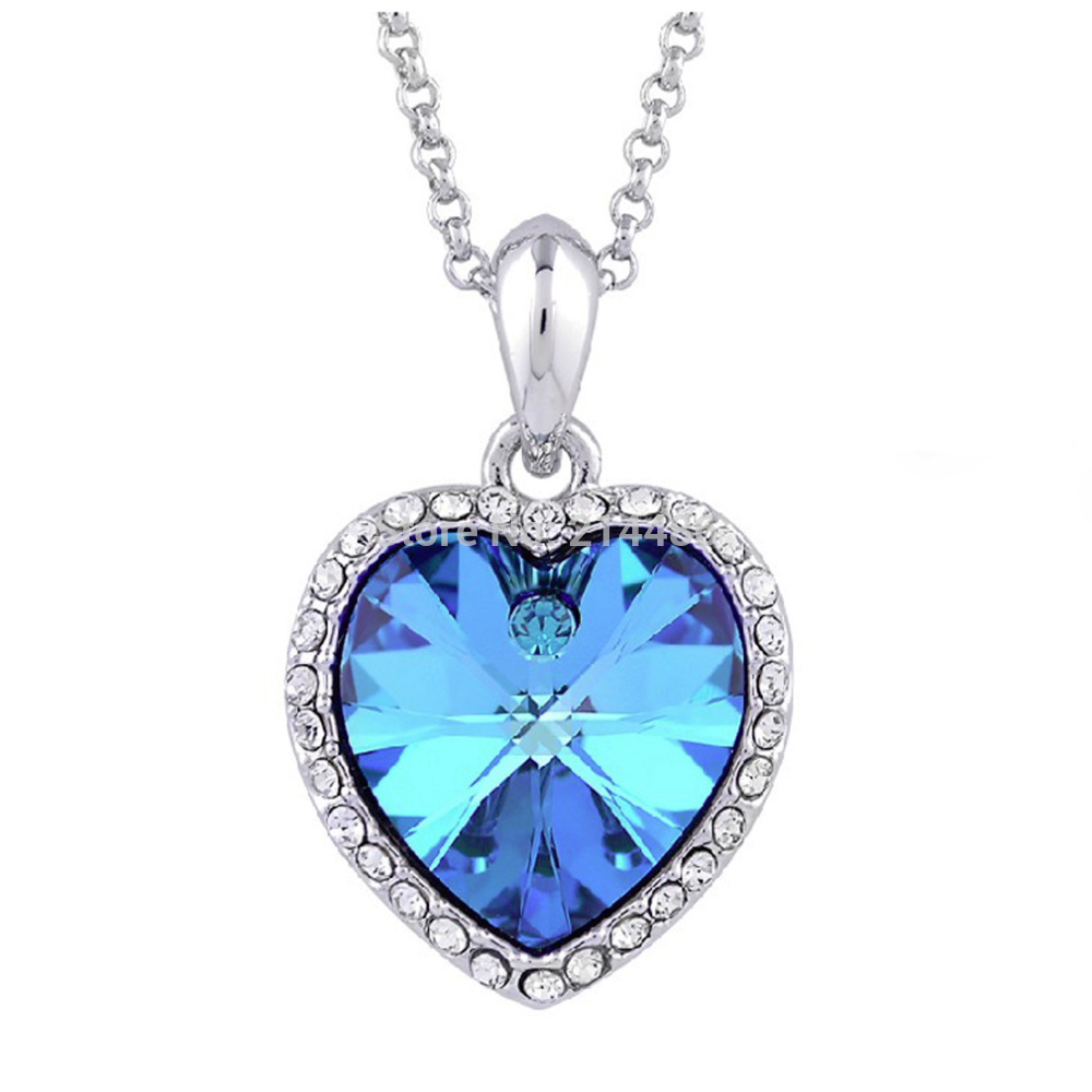 1pcs Alloy and Rhinestone Charm crystal Heart Necklace Pendant Chain Vintage Necklace Sky Blue Cheap Lovers Valentine GIFTS