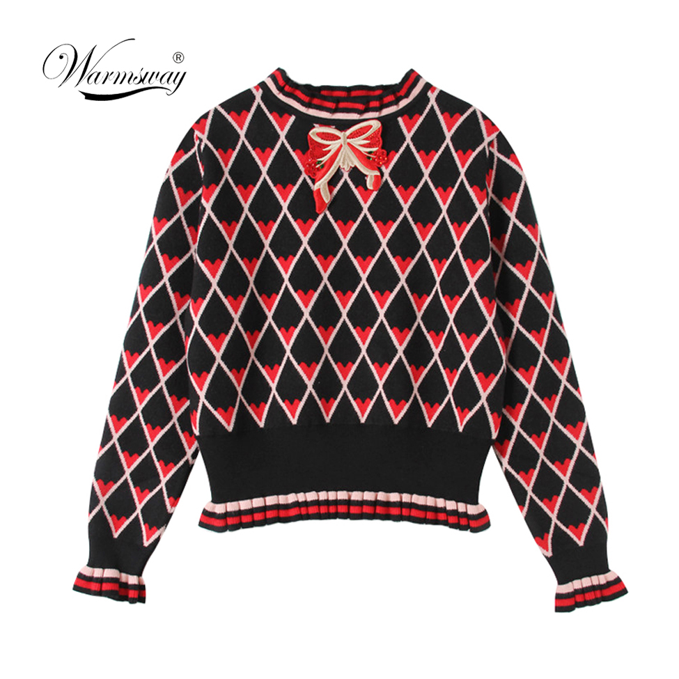 Warmsway Pull Femme 2020 New Winter Turtleneck High Waist Bow Embroidery Knit Sweater Women Argyle Heart Pattern Top  C-304
