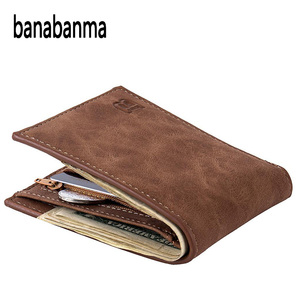 Men Wallet Short Bifold PU Leather Men Purses Fashion multifunction Coin Bag Zipper Small Money Purses clutch Money Clip ZK30(China)