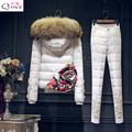3D Flor 2016 Chaqueta de Invierno Mujeres abajo abrigo de pieles de down abrigos traje espesar chaleco + pant + ropa interior de las mujeres pantalones de vestir exteriores establecidos