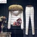 3D Flor 2016 Mulheres Jaqueta de Inverno para baixo casaco de pele para baixo casacos colete + calça + roupa interior terno engrossar das mulheres definir calças outerwear