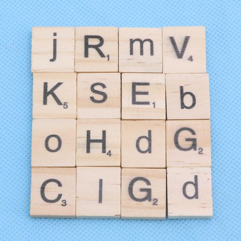 100pcs 18 20mm Wooden Alphabet Scrabble Tiles Mixed Black