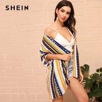 c271409579 SHEIN Tribal Print Kimono 2019 Women Boho Summer Asymmetrical Beachwear Top  Open Front Longline Kimono
