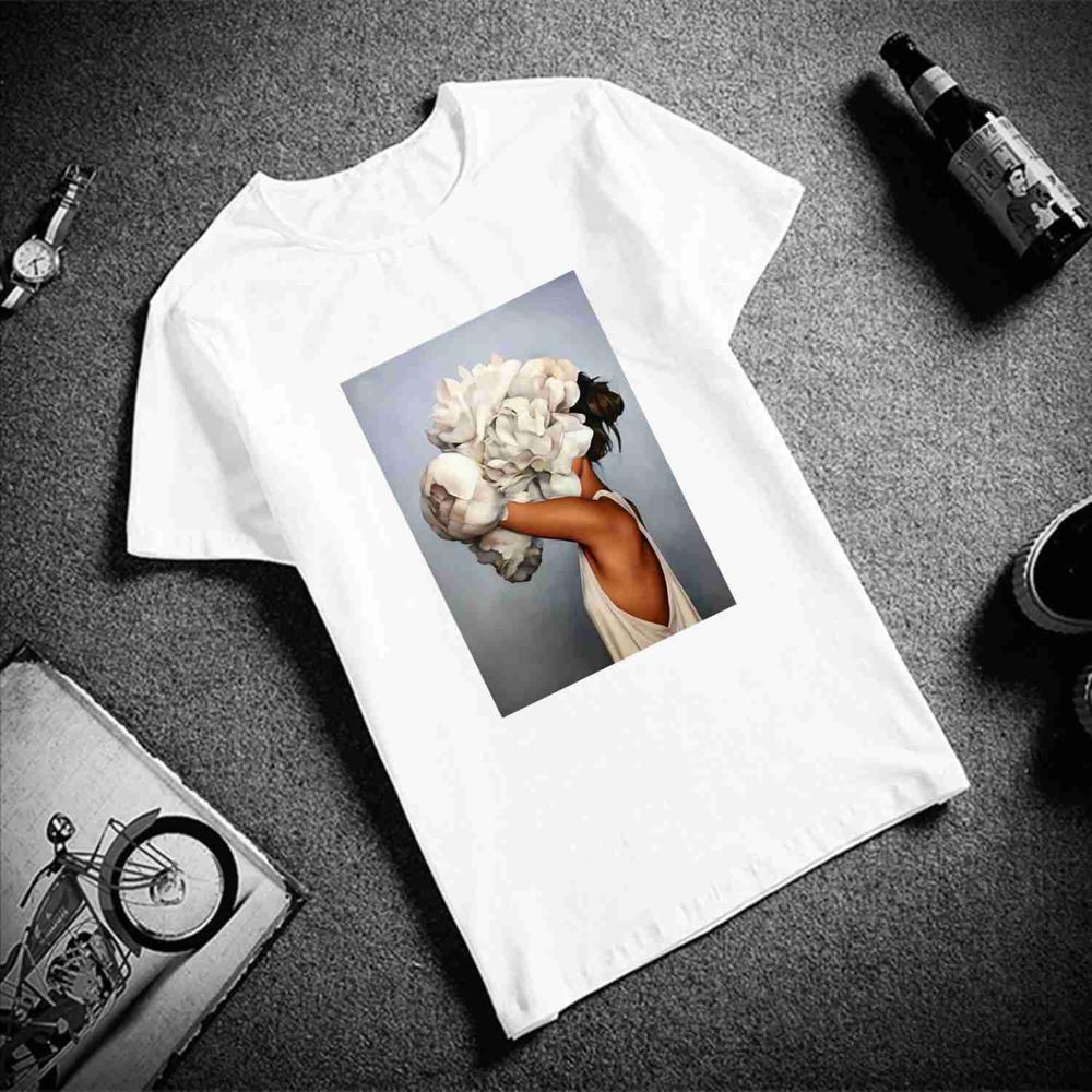 New Cotton Harajuku Aesthetics Tshirt Sexy Flowers Feather Print Short Sleeve Tops & Tees Fashion Casual Couple T Shirt 13