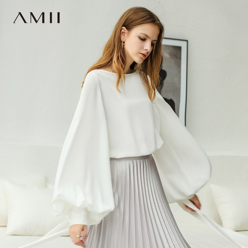 Amii Minimalist Women 2019 Autumn   Blouse   Stylish Chic Lantern Sleeve Female   Blouses     Shirts