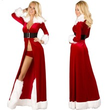2017 Women Sexy Christmas Cosplay Costumes Halloween Festival Uniform Long Dress Santa Clause for hot Women Sexy Lingerie