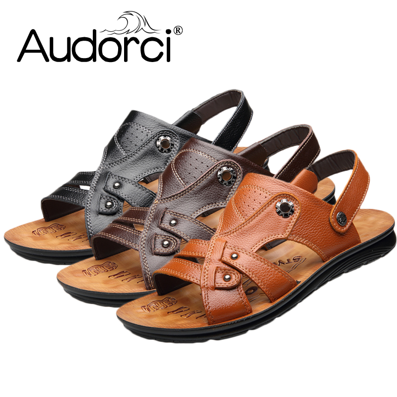 Audorci 2018 Fashion Mens Outdoor Walking Sandals Man Casual Flats Slippers Summer Beach Sandals Men Comfor Shoes Size 38-44