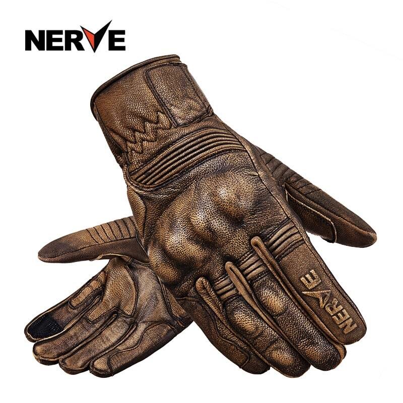 NERF moto gants Hommes femmes saisons en peau de mouton rétro locomotive Harley racing chevalier d'équitation gants de Baisse-preuve écran tactile