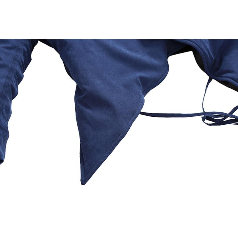 Bandage V En Nouveau Femmes Manches Hiver Solide 2018 Couleur Lyh2294 Manteau Femelle Biue Col Mode Plein Parka Corée Asymétrique xitao Dark 16nv1