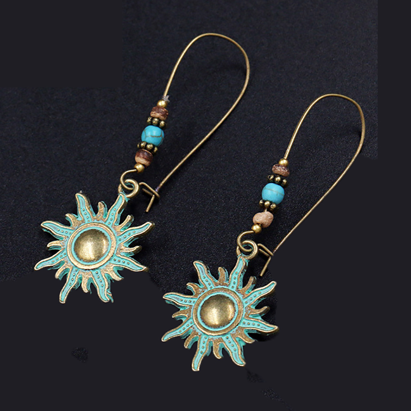 Vintage Bohemian Round Earring Punk Antique Gold Color Charm Multi Twining Pendant Drop Earrings Jewelry