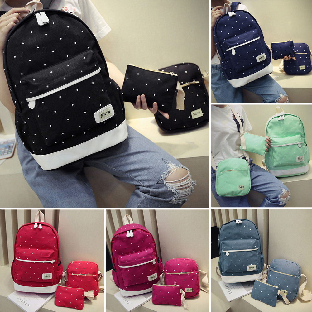 New casual women backpack canvas Korean school bags travel backpacks for teenage girls preppy style dots women bag set new tp3196s1 touch screen glass panel