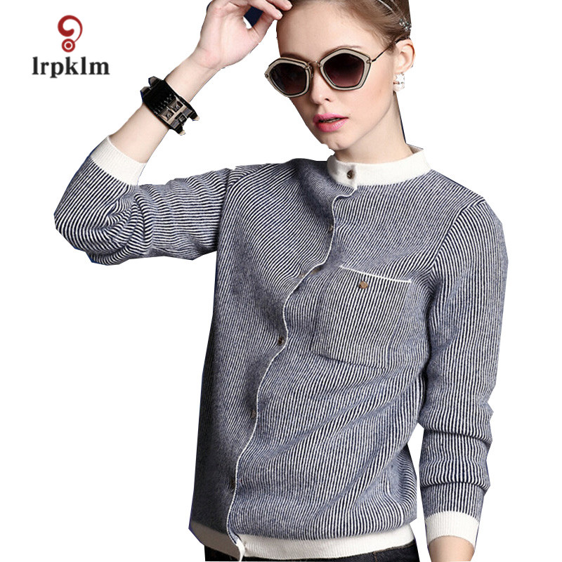 2018 New Womens Autunm Winter Knitted Sweater Ladies Spring Striped Slim Fit Sweater Women Long Sleeve Cardigans PQ321