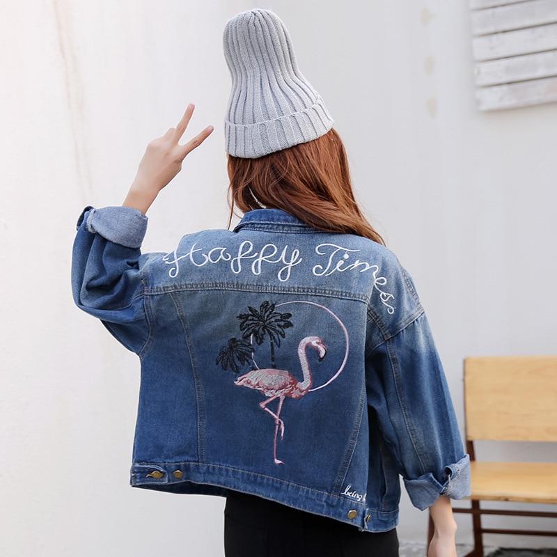 2017 printemps femme jean veste décontracté double poche décoré denim veste vêtements broderie femmes veste manteau de haute qualité
