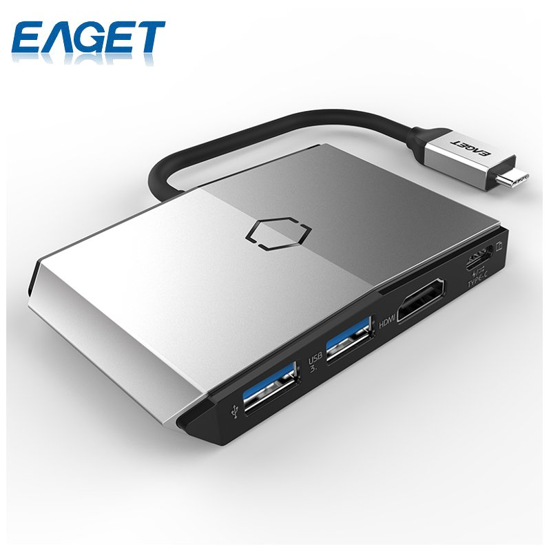 EAGET CH36 Dual USB 3.0 Type C HDMI HUB Data Phone Charging Multifunctional Hub SD/TF Card Reader 4 in 1For Macbook OS PC Laptop 668 usb 3 1 type c card reader