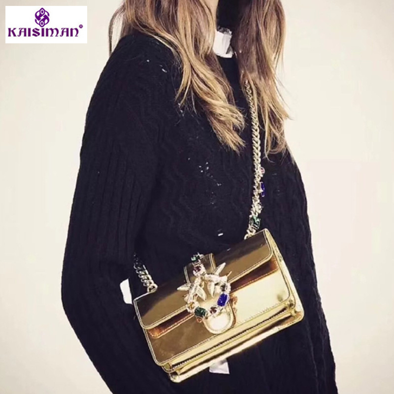 Luxury Designer Lady Swallow Lock Messenger Bags Famous Brand Women Cow Genuine Leather Handbag Fancy Diamond Chain Shoulder Bag