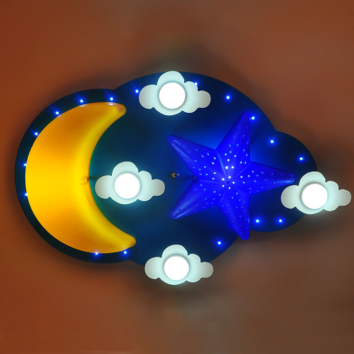 Star Moon LED Children lamp Childrens room ceiling light Creative protection cartoon boy ...