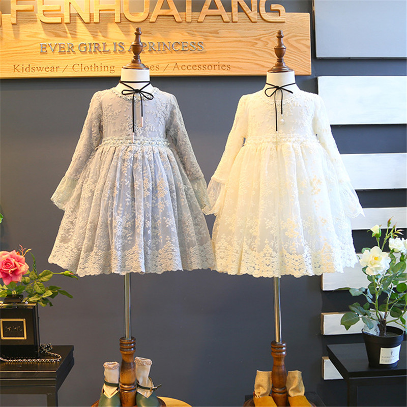 Hurave 2018 summer Baby Girl solid lace Dress Clothes Children Long Sleeve mesh clothing Kids cute princess lace Dresses цены онлайн
