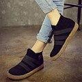 Sapatos de Sola macia Deslizamento Elástico No Tornozelo Mulheres Botas Cor Pura Inglaterra Estilo Botas Casuais Calcanhar Plana Primavera Outono
