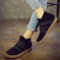 Soft Sole Shoes Elastic Slip On Ankle Women Boots Pure Color England Style Flat Heel Casual Booties Spring Autumn