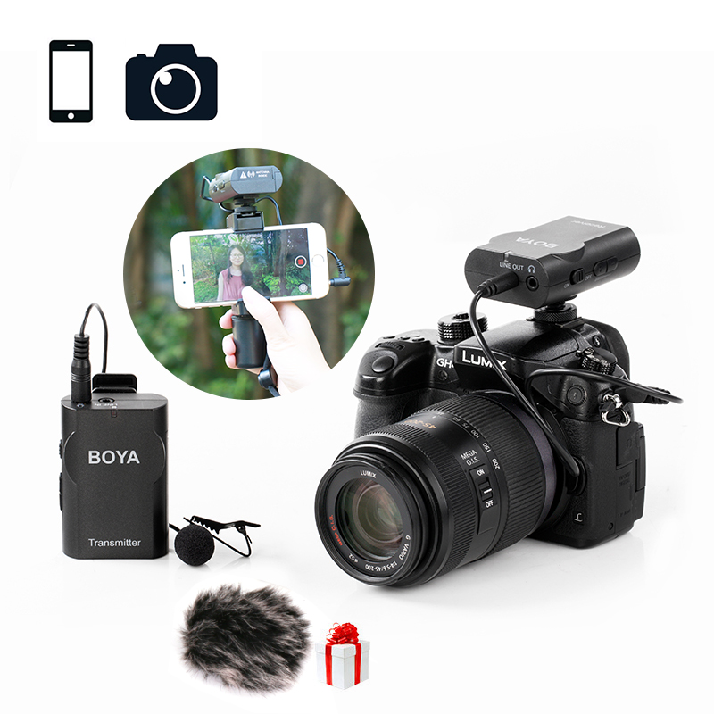BOYA BY-WM4 Wireless Lavalier Microphone System Lapel Recording Audio Mic for Canon Nikon Sony DSLR DV for iPhone X 8 7 Android uwp d11 wireless bodypack lavalier mic system microphone shotgun with smad p3 shoe adapter for sony camera replaces uwp v1