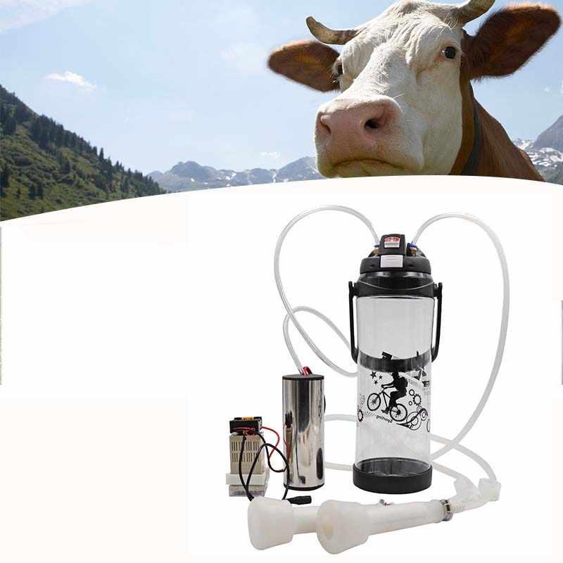 Máquina de leite de vaca preta 3l, único impulso elétrico portátil para leite, ovelha, leite de cabra, cabeça única 110v-220v bomba à vácuo,
