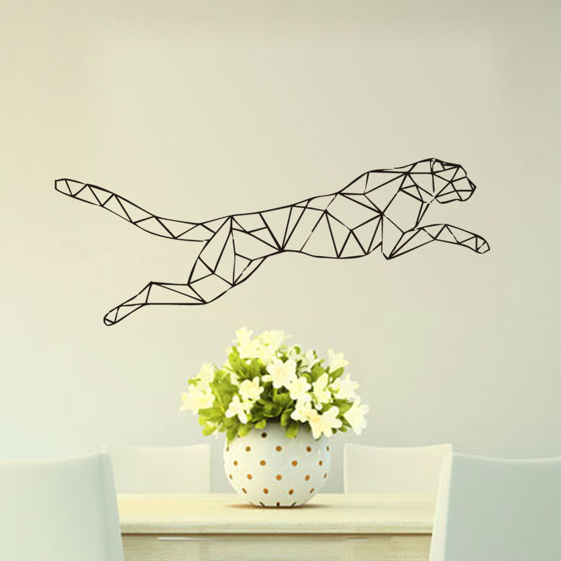 Leopard Wall Art Home Decor ~ Aliexpress buy running animal geometric jaguar wall