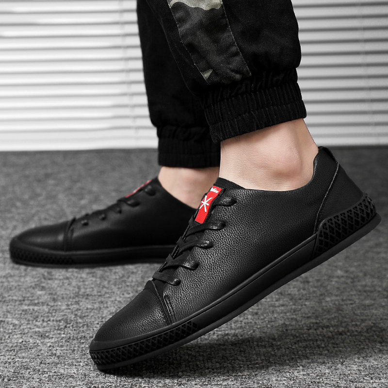 Men Leather Sneakers Loafers Men Casual Shoes Genuine Leather Lace Up Walking Shoe Flat Men New Free Shipping