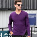 High Quality Pure 100% Wool Mens Autumn Fashion V Neck Sweater Plain Solid Color Pullover Cashmere Sweater