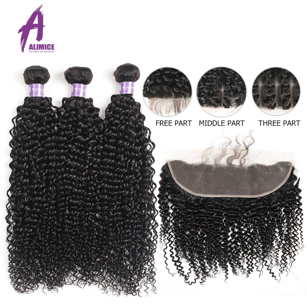Brazilian Kinky Curly Bundles With Frontal Closure Remy Human Hair Weave Bundles With Closure 13 4