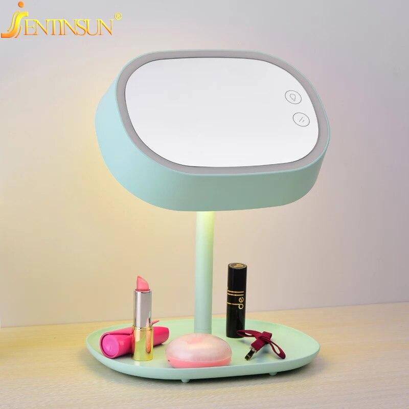2016 nueva moda cosmética espejo de pie recargable LED luz mesa ...