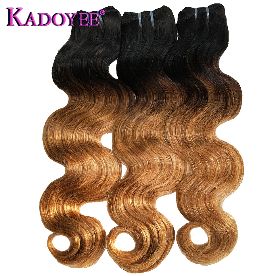 Brazilian Double Drawn Ombre Funmi Hair Wave Bundles Body Wave Human Remy Hair Extensions 1 3