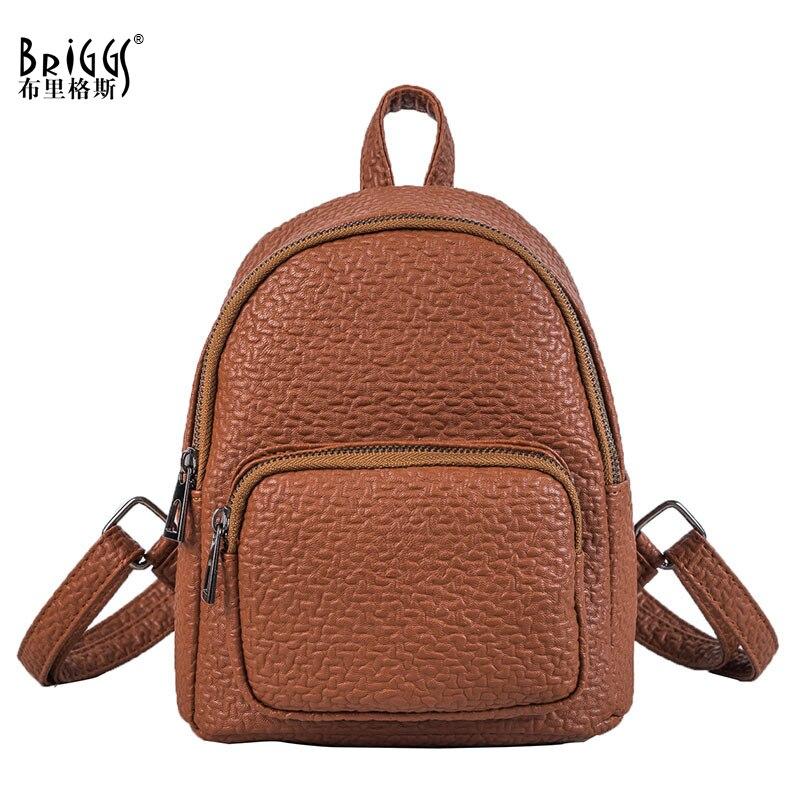 BRIGGS Fashion Small Women Backpack Pu Leather Backpacks Girls School Bags Casual Travel Backpack Female Backpack Mochila Sac