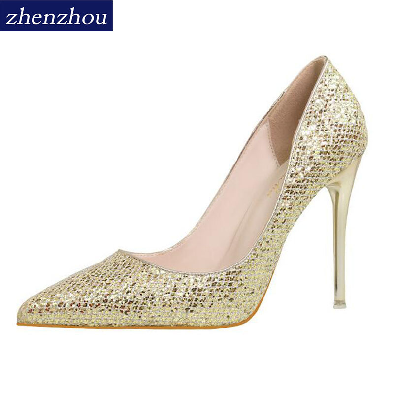 zhenzhou Ladies high heels free freight 2018 spring and autumn new ultra-high heels shallow-mouthed sequins womens shoes