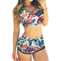 Newest Plus Size Summer Tankini Swimsuits Women Two Pieces Swimwear Ladies Bathing Suit With Shorts Push Up Beach Wear