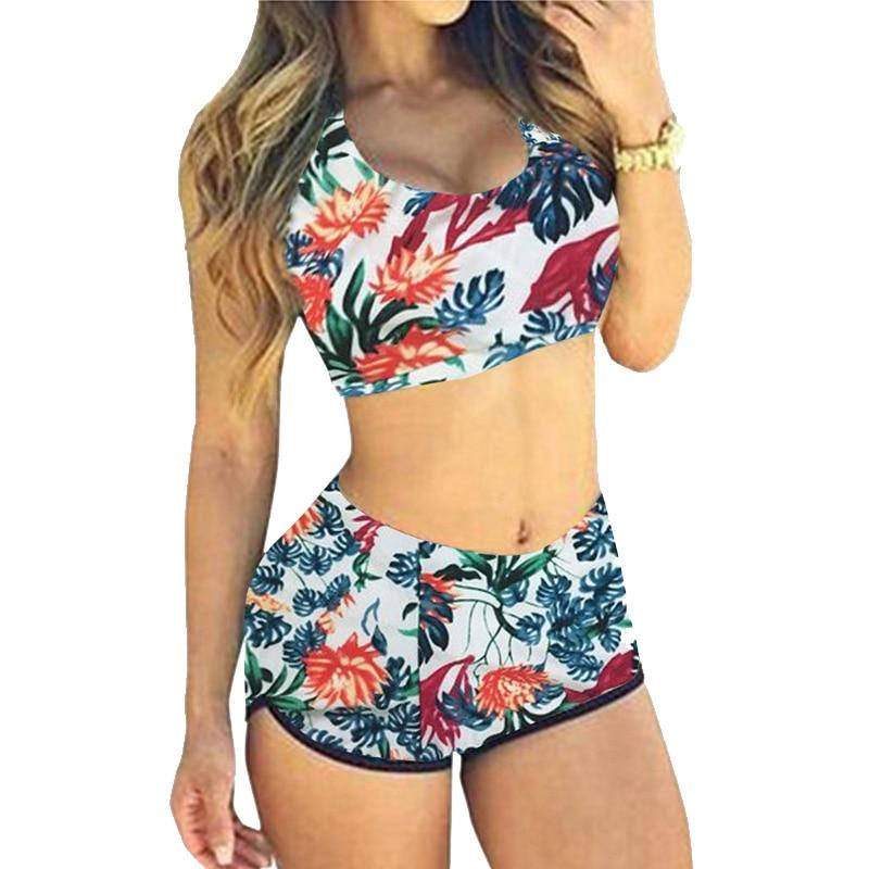 Newest Women Swimwear Crop Tops High Waist Shorts Floral Bikini Set Beach Sport Swimsuit For Women S M L XL