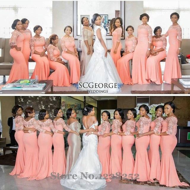 Elegant Coral Long Bridesmaid Dress with Sleeves Plus Size Lace Party Dress  Beautiful Bridemaids Dresses 2016 on sale c32713dcbc4a