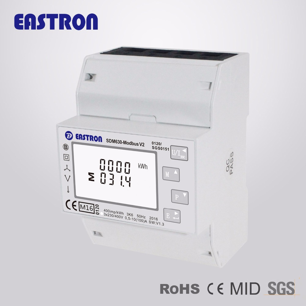 SDM630 Modbus V2, multi-function power analyser, 1p2w 3p3w 3p4w, modbus/pulse output RS485 PV solar system available, NON-MID(China)