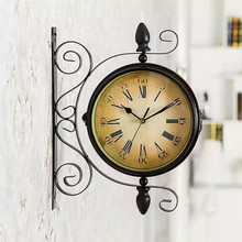 Antique Style Charminer Vintage Decorative Double Sided Metal Wall Clock Station Hanging
