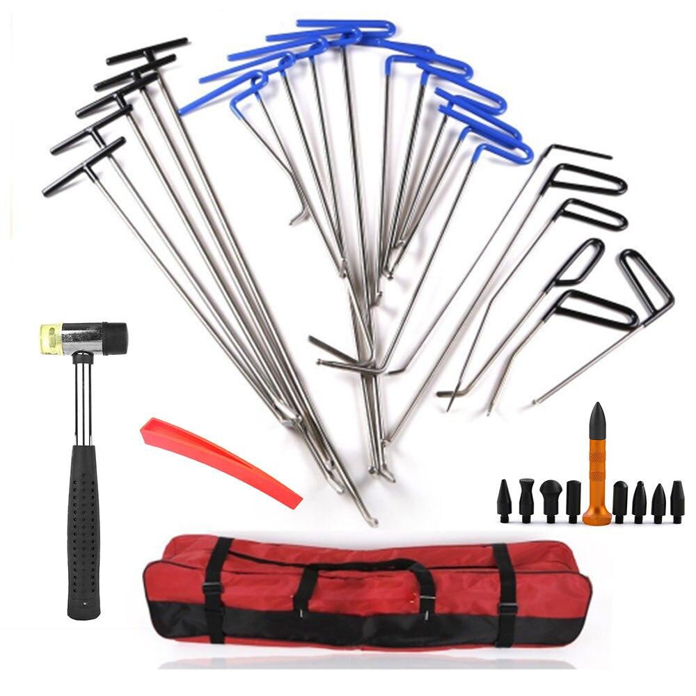 21 pièces arrière/bleu PDR crochet outils pour réparer voiture Dent + robinet en caoutchouc réparation marteau rouge cale nouvellement manganèse acier