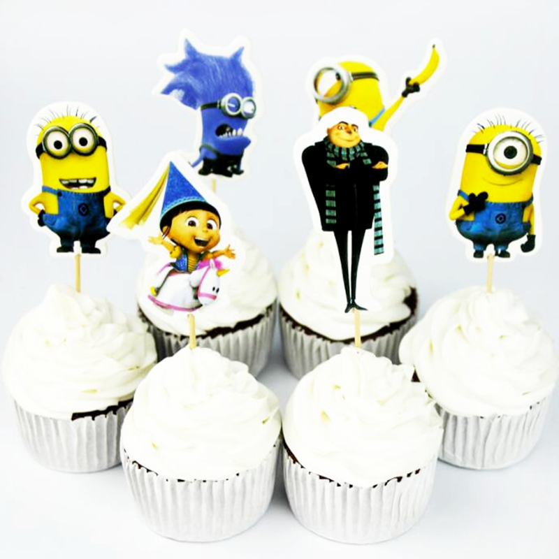 720pcs Event Party Cartoon Minions Cupcake Toppers Pick Funny Little People Funny Despicable Me Kids Birthday Party Decoration