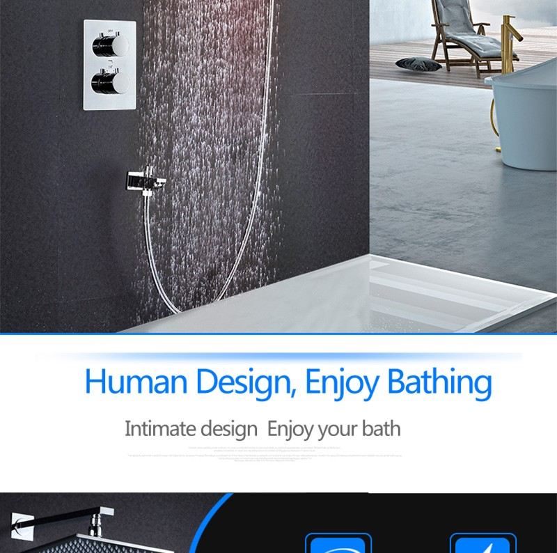 LED Shower Mixer Set Thermostat Faucet Shower Shower Head Powered by Water Square Saving Water Chromed Spout (4)