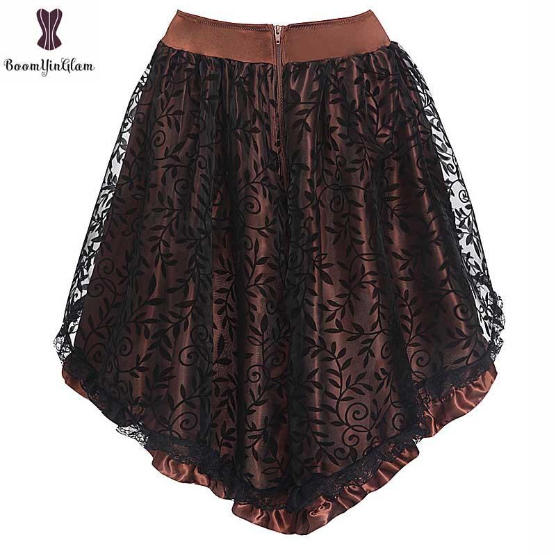 Coffee Black Satin Lace Corset Skirt Asymmetrical Floral Gothic Steampunk Women Vintage Plus Size Skirts Back Zipper Closure 6