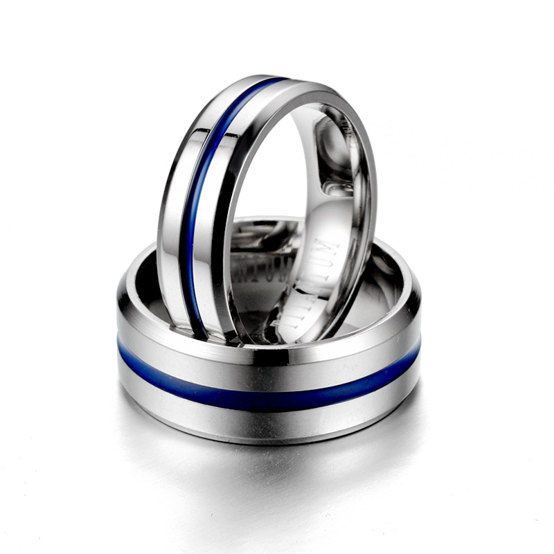 KNOCK  Trendy  Stainless Steel Black Blue Groove Ring For Men Wedding Bands Rainbow Lovers ring  Male Jewelry Drop shipping 3
