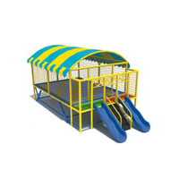 Kids Big Trampoline Bed With Roof And Slide Playground Kindergarten Amusement Jumping Trampoline Children Jumping Bed
