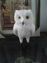 simulation white owl model large 32x15cm,polyethylene & furs feathers owl toy model decoration gift t454
